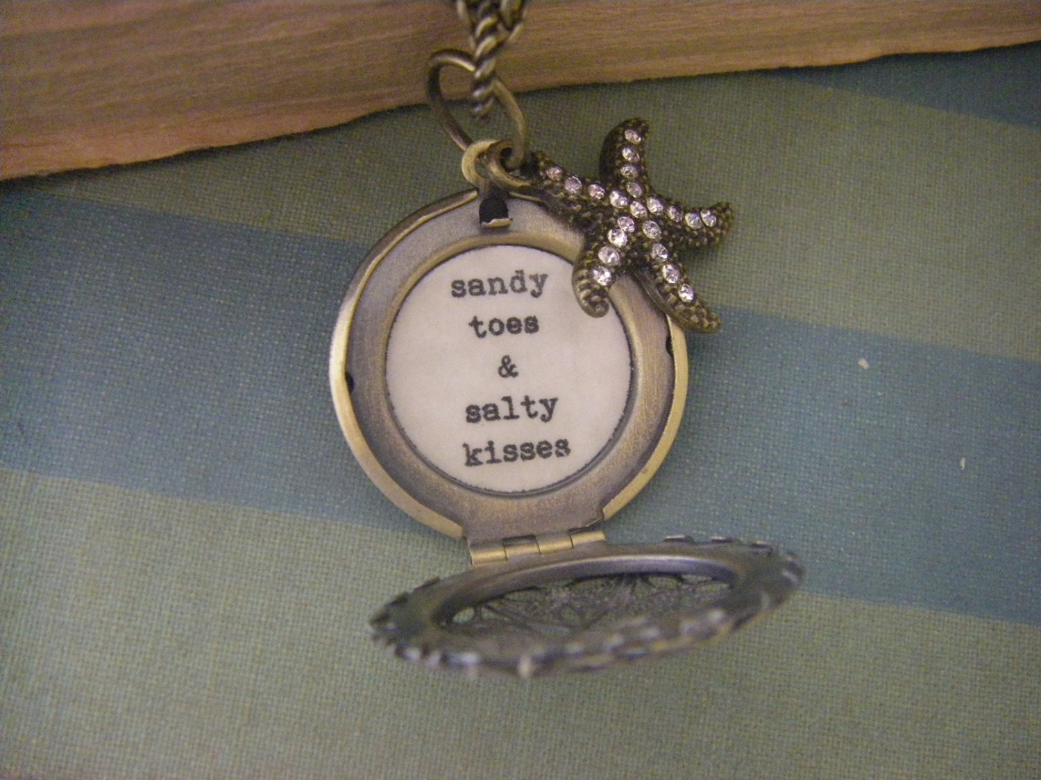 Starfish Locket Necklace Sandy Toes and Salty Kisses